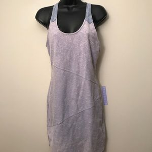 FREE PEOPLE: Keyhole Denim-Look Distressed Dress
